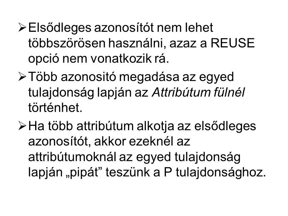  Elsődleges azonosítót nem lehet többszörösen használni, azaz a REUSE opció nem vonatkozik rá.