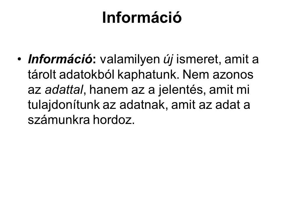 Információ Információ: valamilyen új ismeret, amit a tárolt adatokból kaphatunk.