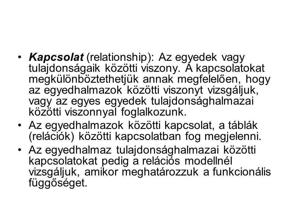 Kapcsolat (relationship): Az egyedek vagy tulajdonságaik közötti viszony.