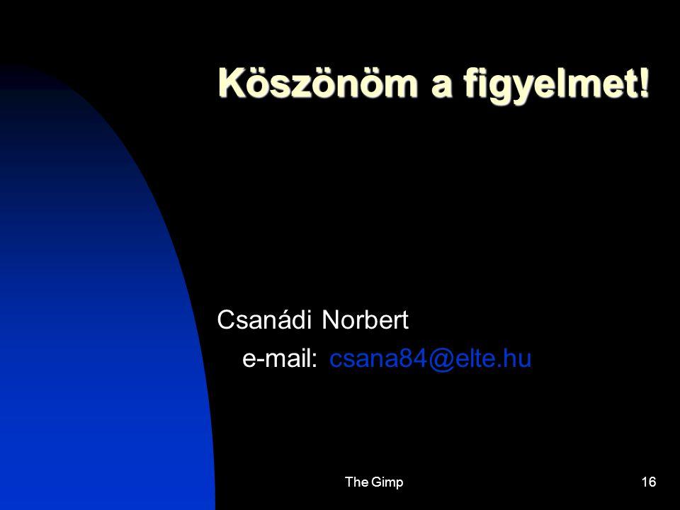 The Gimp16 Köszönöm a figyelmet! Csanádi Norbert e-mail: csana84@elte.hu