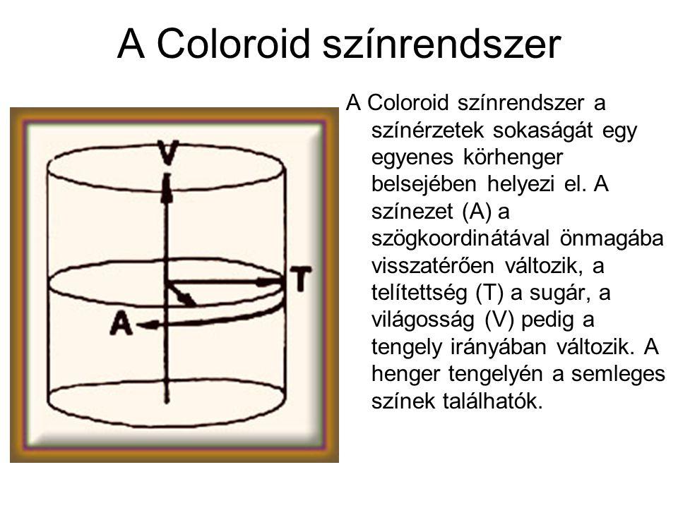 A Coloroid színrendszer A Coloroid színrendszer a színérzetek sokaságát egy egyenes körhenger belsejében helyezi el. A színezet (A) a szögkoordinátáva