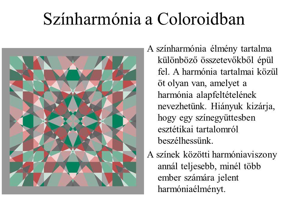 Színharmónia a Coloroidban A színharmónia élmény tartalma különböző összetevőkből épül fel. A harmónia tartalmai közül öt olyan van, amelyet a harmóni