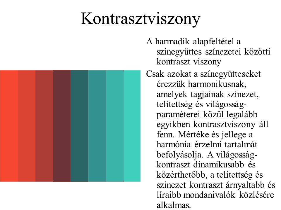 Kontrasztviszony A harmadik alapfeltétel a színegyüttes színezetei közötti kontraszt viszony Csak azokat a színegyütteseket érezzük harmonikusnak, ame