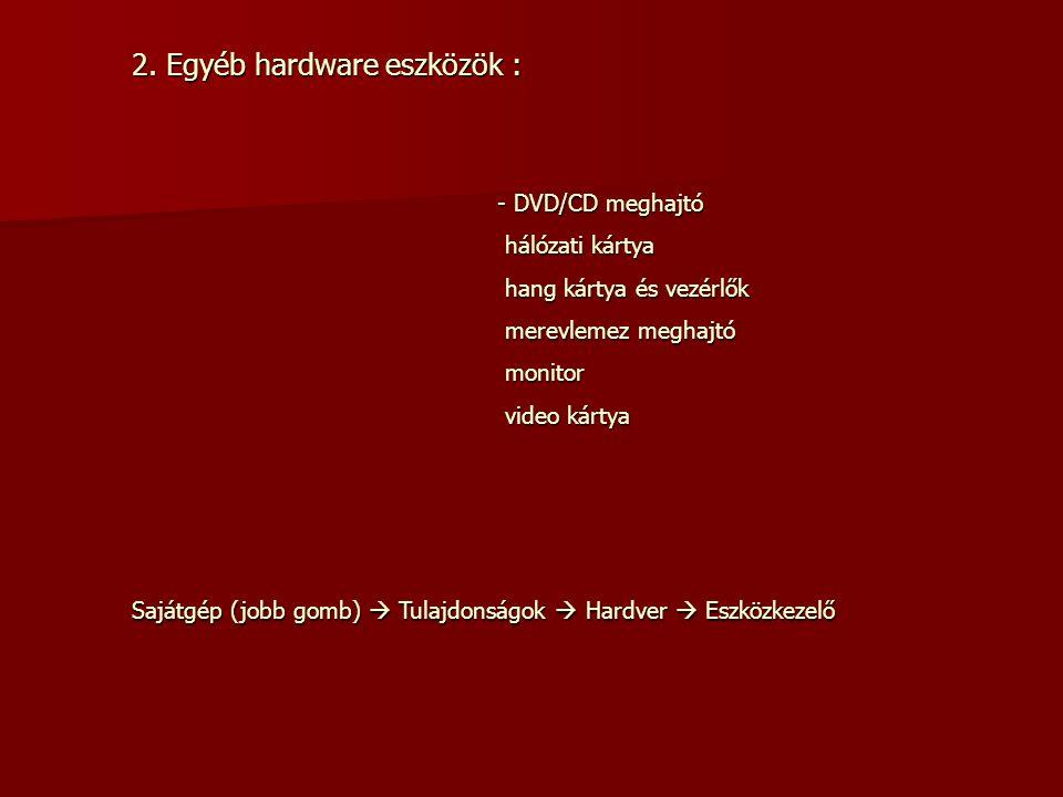DVD/CD meghajtó hálózati kártya hang kártya és vezérlők merevlemez meghajtó monitor video kártya