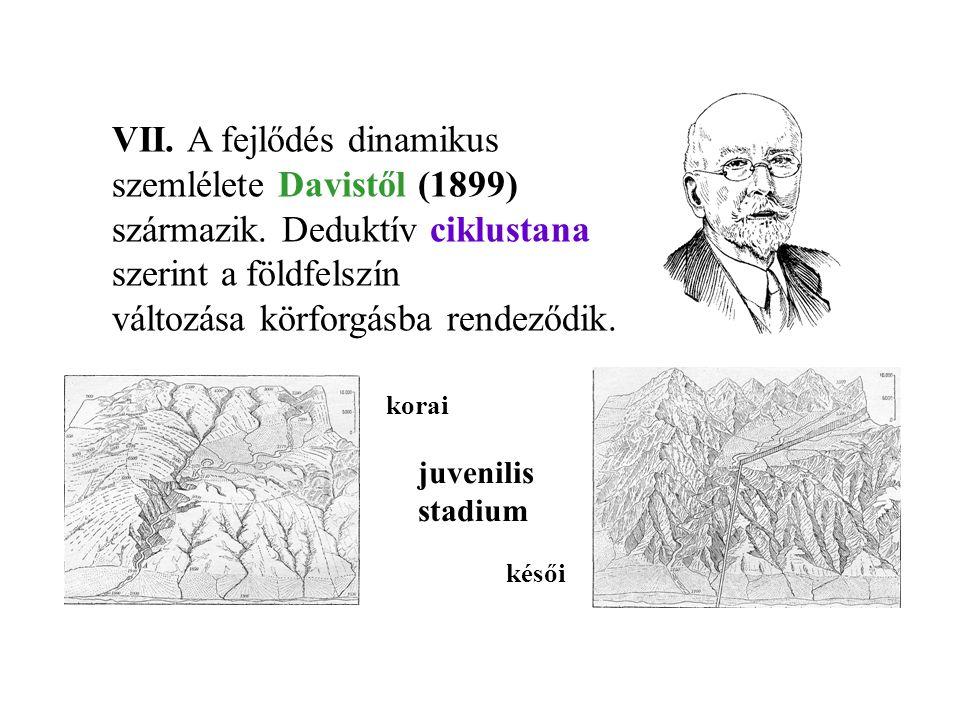 VII. A fejlődés dinamikus szemlélete Davistől (1899) származik. Deduktív ciklustana szerint a földfelszín változása körforgásba rendeződik. juvenilis