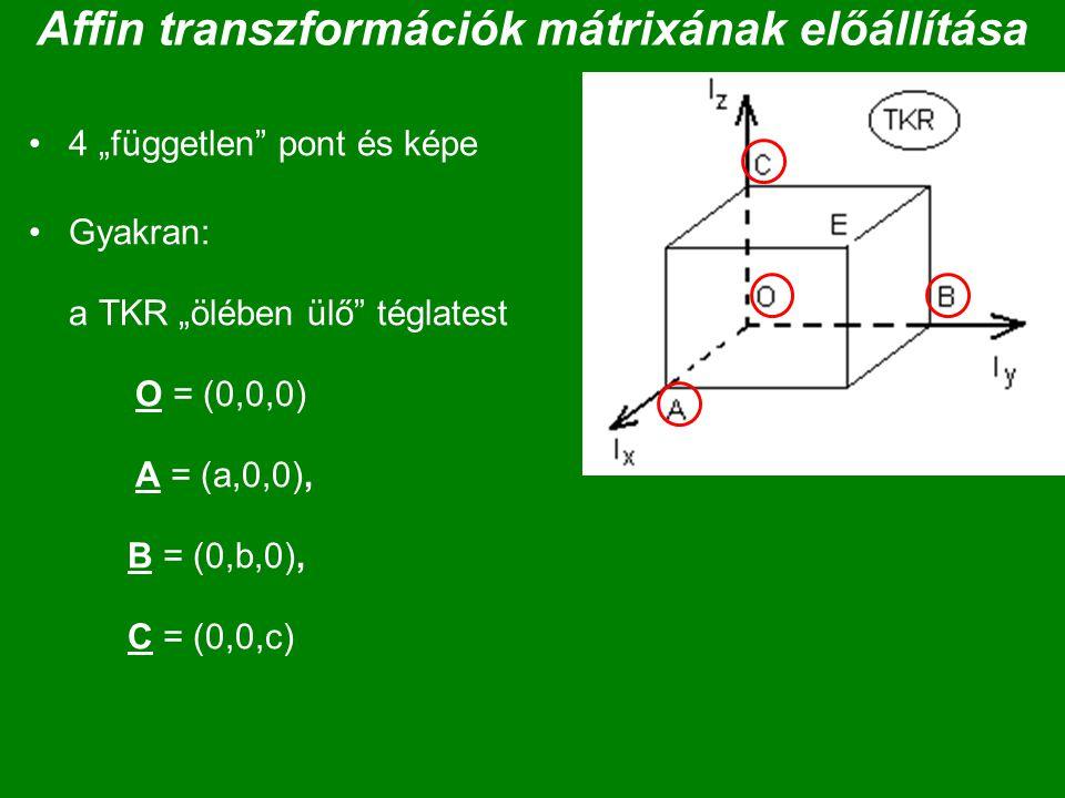 """Affin transzformációk mátrixának előállítása 4 """"független"""" pont és képe Gyakran: a TKR """"ölében ülő"""" téglatest O = (0,0,0) A = (a,0,0), B = (0,b,0), C"""