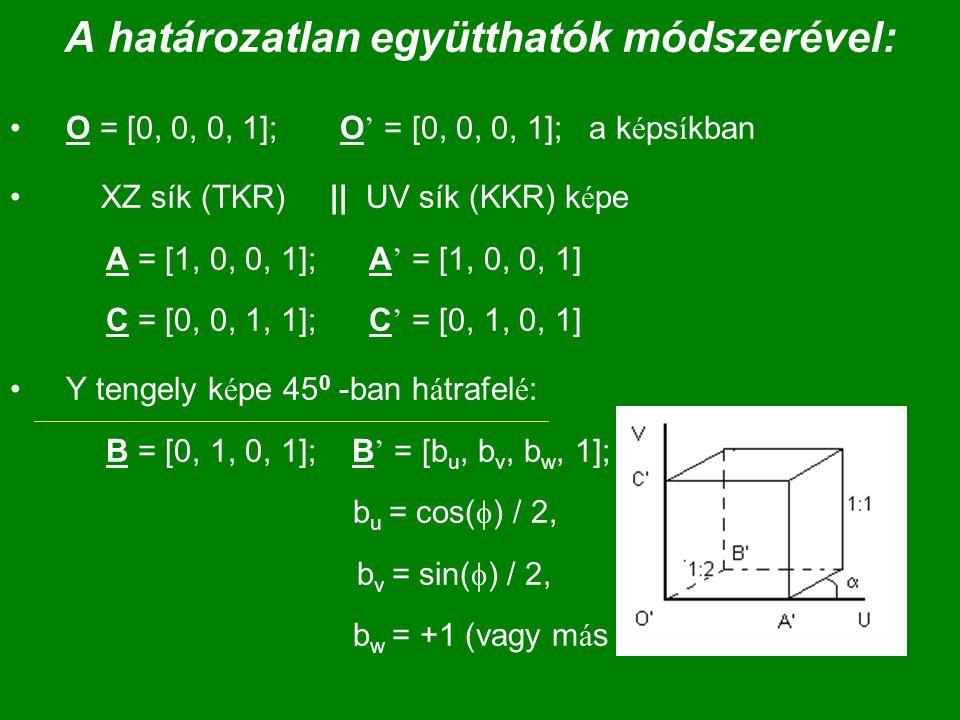 A határozatlan együtthatók módszerével: O = [0, 0, 0, 1]; O ' = [0, 0, 0, 1]; a k é ps í kban XZ sík (TKR) || UV sík (KKR) k é pe A = [1, 0, 0, 1]; A
