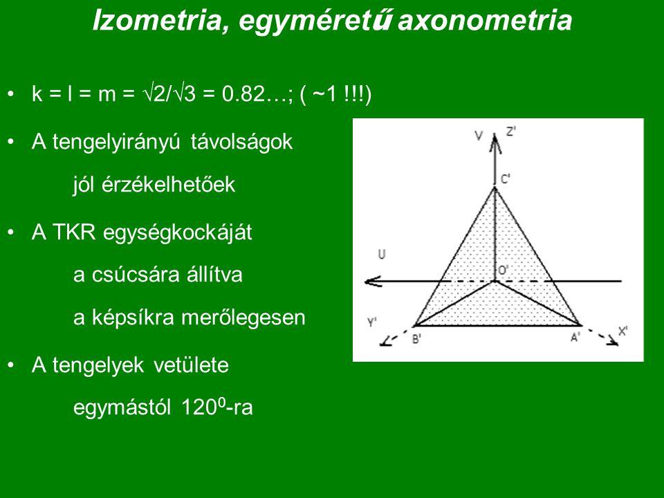 Izometria, egyméret ű axonometria k = l = m =  2/  3 = 0.82…; ( ~1 !!!) A tengelyirányú távolságok jól érzékelhetőek A TKR egységkockáját a csúcsára