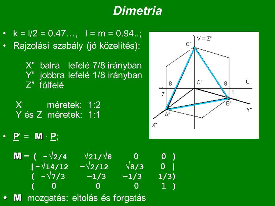"""Dimetria k = l/2 = 0.47…, l = m = 0.94..; Rajzolási szabály (jó közelítés): X"""" balra lefelé 7/8 irányban Y"""" jobbra lefelé 1/8 irányban Z"""" fölfelé X mé"""
