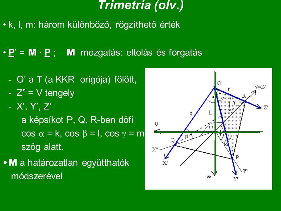 """Trimetria (olv.) k, l, m: három különböző, rögzíthető érték MP' = M · P ; M mozgatás: eltolás és forgatás - O' a T (a KKR origója) fölött, - Z"""" = V te"""
