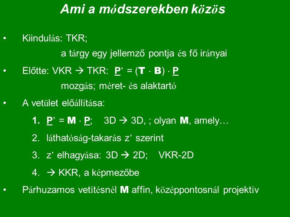Ami a m ó dszerekben k ö z ö s Kiindul á s: TKR; a t á rgy egy jellemző pontja é s fő ir á nyai Előtte: VKR  TKR: P ' = ( T  B )  P mozg á s; m é r
