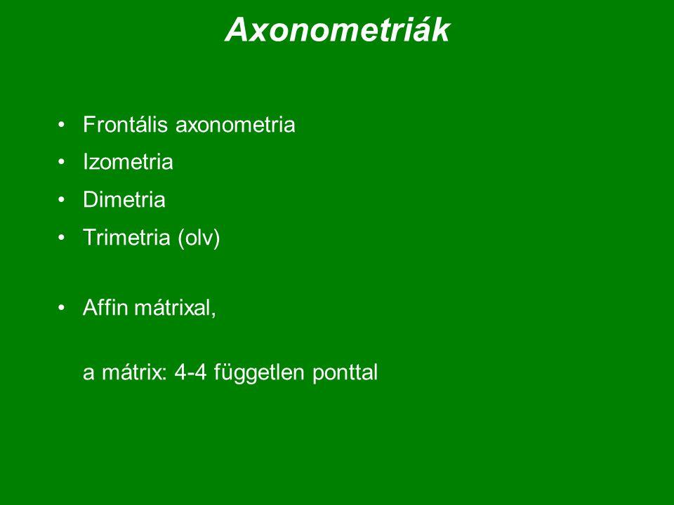 Izometria, egyméretű axonometria MM = ( m 11 m 12 m 13 m 14 ) = | m 21 m 22 m 23 m 24 | | m 31 m 32 m 33 m 34 ) ( 0 0 0 1 ) =( -t t 0 0 ) | -f/2 -f/2 f 0 | ( -h –h -h h ) ( 0 0 0 1 ) h =  3/3, f =  2/  3, t = 1/  2 M :M : mozgatás: eltolás és forgatás