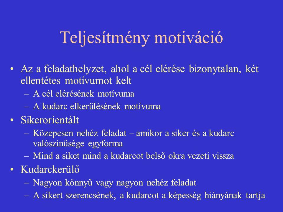 Teljesítmény motiváció Az a feladathelyzet, ahol a cél elérése bizonytalan, két ellentétes motívumot kelt –A cél elérésének motívuma –A kudarc elkerül