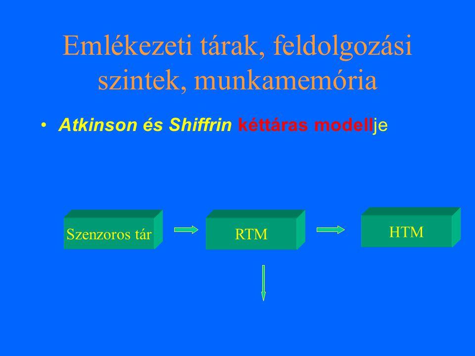 Emlékezeti tárak, feldolgozási szintek, munkamemória Szenzoros tárRTM HTM Atkinson és Shiffrin kéttáras modellje