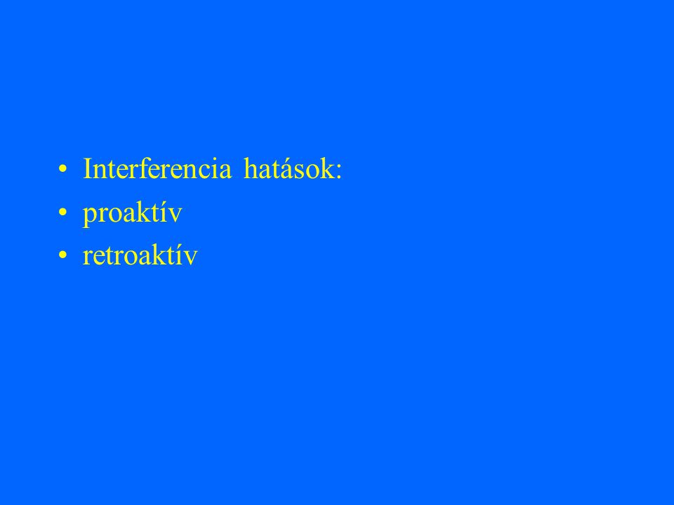 Interferencia hatások: proaktív retroaktív