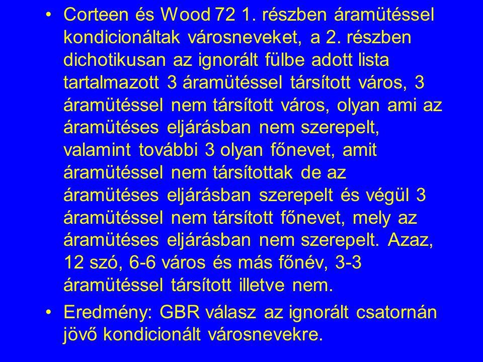 Corteen és Wood 72 1.részben áramütéssel kondicionáltak városneveket, a 2.