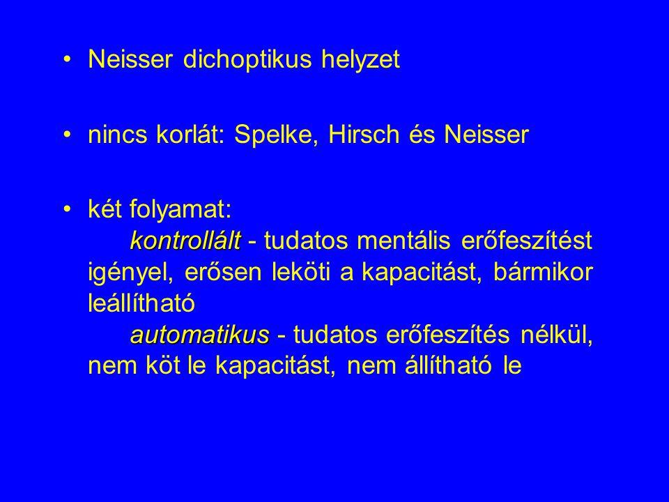 Neisser dichoptikus helyzet nincs korlát: Spelke, Hirsch és Neisser kontrollált automatikuskét folyamat: kontrollált - tudatos mentális erőfeszítést igényel, erősen leköti a kapacitást, bármikor leállítható automatikus - tudatos erőfeszítés nélkül, nem köt le kapacitást, nem állítható le