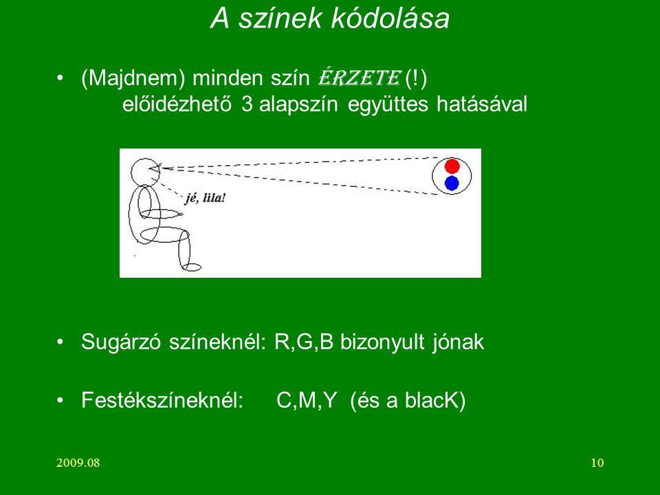 2009.0810 A színek kódolása (Majdnem) minden szín érzete (!) előidézhető 3 alapszín együttes hatásával Sugárzó színeknél: R,G,B bizonyult jónak Festékszíneknél: C,M,Y (és a blacK)