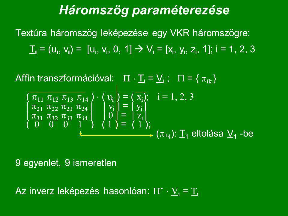 Háromszög paraméterezése Textúra háromszög leképezése egy VKR háromszögre: T i = (u i, v i ) = [u i, v i, 0, 1]  V i = [x i, y i, z i, 1]; i = 1, 2, 3 Affin transzformációval:   T i = V i ;  = {  ik } (  11  12  13  14 )  ( u i ) = ( x i ); i = 1, 2, 3 |  21  22  23  24 | | v i | = | y i | |  31  32  33  34 | | 0 | = | z i | (  ) ( 1 ) = ( 1 ); (  *4 ): T 1 eltolása V 1 -be 9 egyenlet, 9 ismeretlen Az inverz leképezés hasonlóan:  '  V i = T i