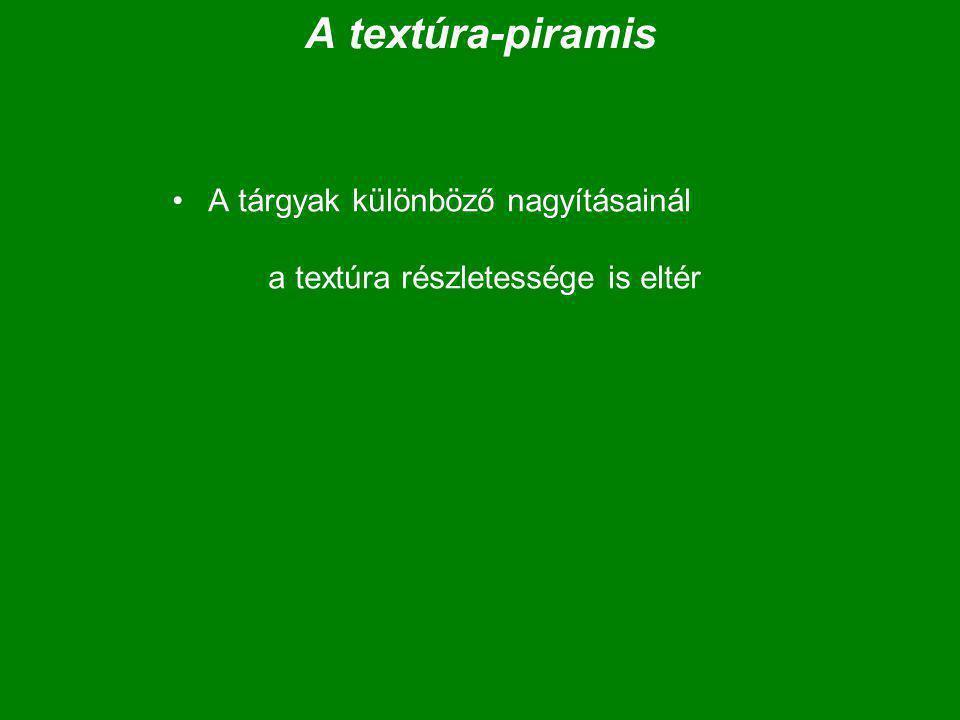 A textúra-piramis A tárgyak különböző nagyításainál a textúra részletessége is eltér