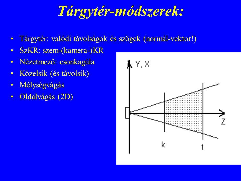 Tárgytér-módszerek: Tárgytér: valódi távolságok és szögek (normál-vektor!) SzKR: szem-(kamera-)KR Nézetmező: csonkagúla Közelsík (és távolsík) Mélység