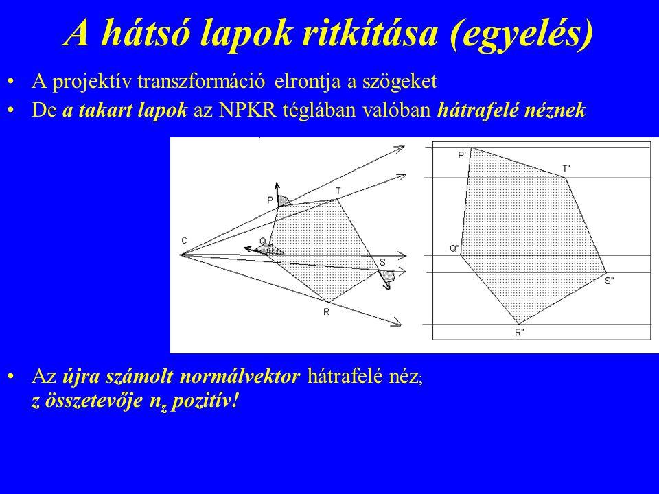 A hátsó lapok ritkítása (egyelés) A projektív transzformáció elrontja a szögeket De a takart lapok az NPKR téglában valóban hátrafelé néznek Az újra s