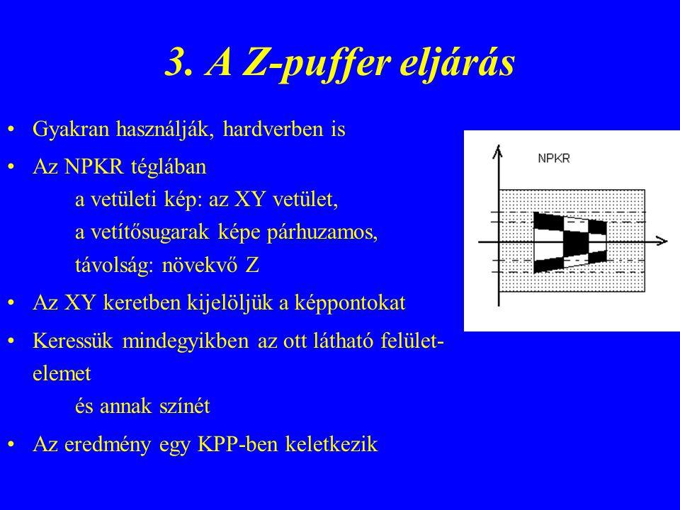 A Z-puffer eljárás (f) Paramétere: lapok listája az NPKR-ben, vágás után Adatszerkezet: ZP[0..xmax,0..ymax]; z értékek FP[0..xmax,0..ymax]; lapokra mutatók Kezdő értékek: ZP[i,j] = zmax, FP[i,j] = a háttér (függöny) –re mutató