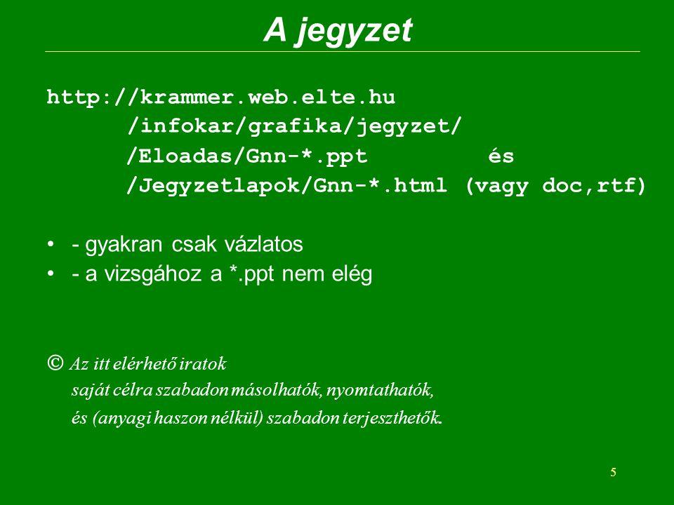 5 A jegyzet http://krammer.web.elte.hu /infokar/grafika/jegyzet/ /Eloadas/Gnn-*.ppt és /Jegyzetlapok/Gnn-*.html (vagy doc,rtf) - gyakran csak vázlatos
