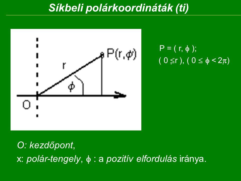 Síkbeli polárkoordináták (ti) P = ( r,  ); ( 0  r ), ( 0  < 2  ) O: kezdőpont, x: polár-tengely,  : a pozitív elfordulás iránya.