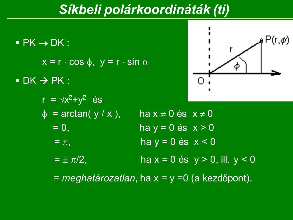 Síkbeli polárkoordináták (ti)  PK  DK : x = r  cos , y = r  sin   DK  PK : r =  x 2 +y 2 és  = arctan( y / x ), ha x  0 és x  0 = 0, ha y