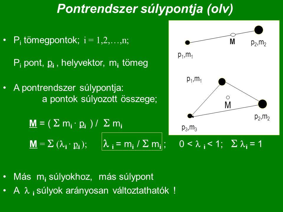 Pontrendszer súlypontja (olv) P i tömegpontok; i = 1,2,…,n; P i pont, p i, helyvektor, m i tömeg A pontrendszer súlypontja: a pontok súlyozott összege