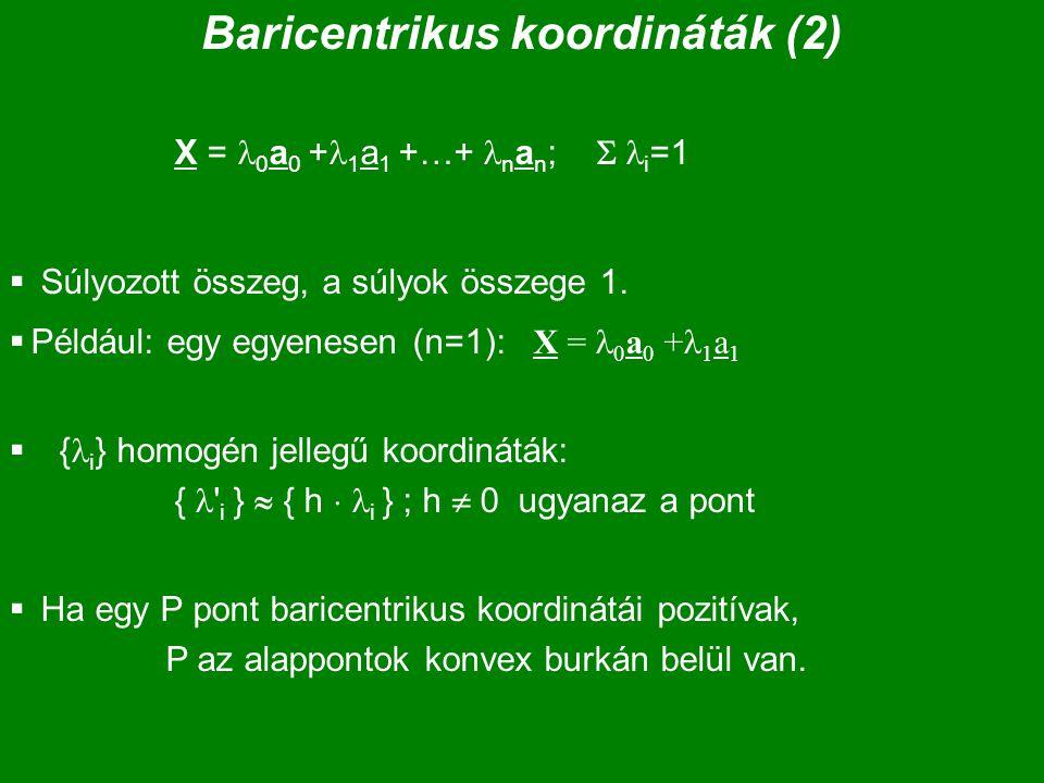 Baricentrikus koordináták (2) X = 0 a 0 + 1 a 1 +…+ n a n ;  i =1  Súlyozott összeg, a súlyok összege 1.  Például: egy egyenesen (n=1): X = 0 a 0 +