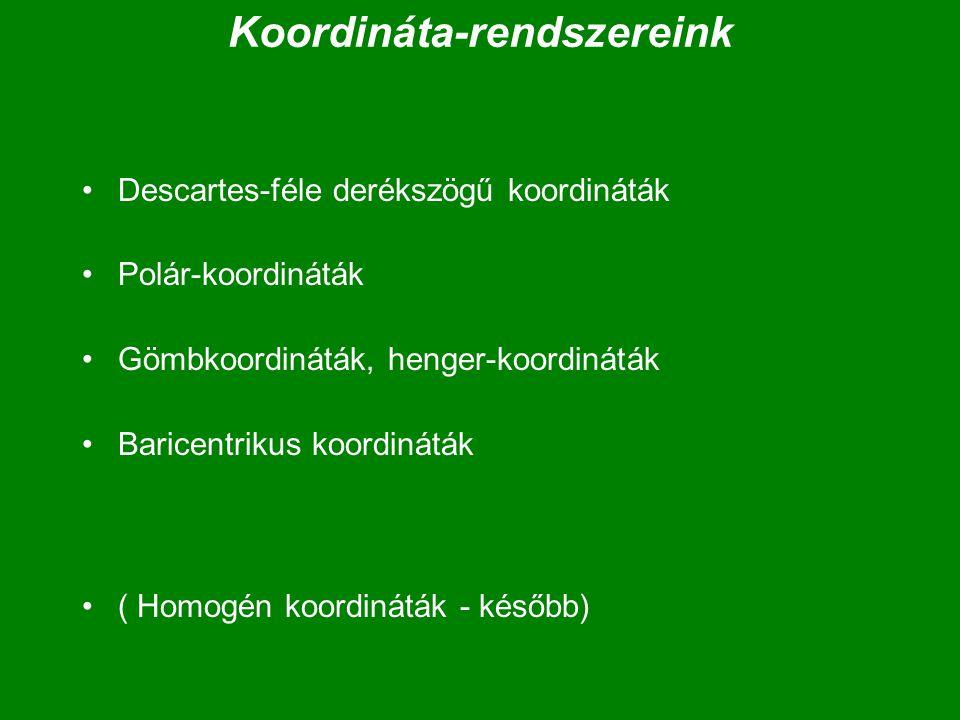 Koordináta-rendszereink Descartes-féle derékszögű koordináták Polár-koordináták Gömbkoordináták, henger-koordináták Baricentrikus koordináták ( Homogé