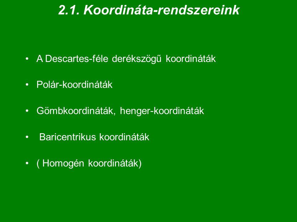 a Descartes-féle (ferdeszögű) KR  Egy KR-t meghatároz: - egy pont (origó, kezdőpont) - a rajta átmenő 3 (2) irányított egyenes (tengelyek), amelyek kifeszítik a teret (a síkot), - és a tengelyeken kijelölt egység  Egy pont helyének megadása: 3(2) koordinátájával: P = (x, y, z) T // vagy (x, y, z) .