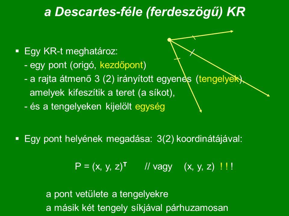 a Descartes-féle (ferdeszögű) KR  Egy KR-t meghatároz: - egy pont (origó, kezdőpont) - a rajta átmenő 3 (2) irányított egyenes (tengelyek), amelyek k