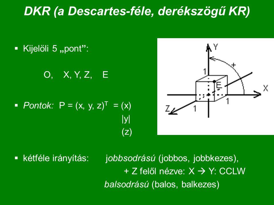 Baricentrikus koordináták (2) X = 0 a 0 + 1 a 1 +…+ n a n ;  i =1  Súlyozott összeg, a súlyok összege 1.