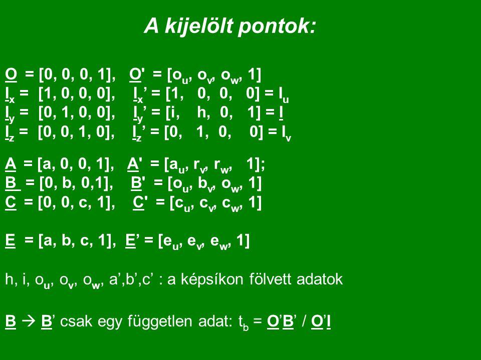 A kijelölt pontok: O = [0, 0, 0, 1], O' = [o u, o v, o w, 1] I x = [1, 0, 0, 0], I x ' = [1, 0, 0, 0] = I u I y = [0, 1, 0, 0], I y ' = [i, h, 0, 1] =