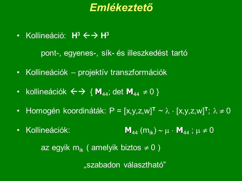 Emlékeztető Kollineáció: H 3  H 3 pont-, egyenes-, sík- és illeszkedést tartó Kollineációk – projektív transzformációk MMkollineációk  { M 44 ; de