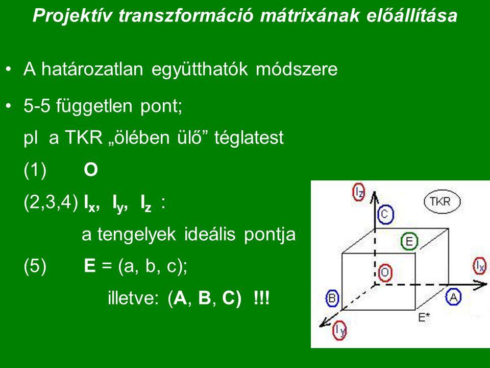 """Projektív transzformáció mátrixának előállítása A határozatlan együtthatók módszere 5-5 független pont; pl a TKR """"ölében ülő"""" téglatest (1) O (2,3,4)"""