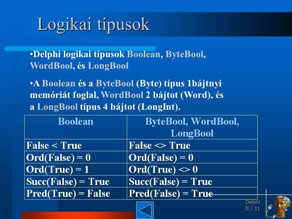 Delphi Delphi II / 11 Logikai típusok Delphi logikai típusok Boolean, ByteBool, WordBool, és LongBool A Boolean és a ByteBool (Byte) típus 1bájtnyi me