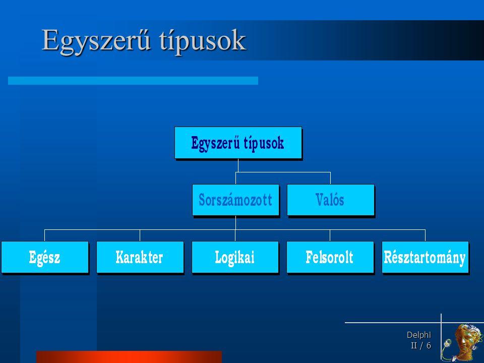 Delphi Delphi II / 6 Egyszerű típusok