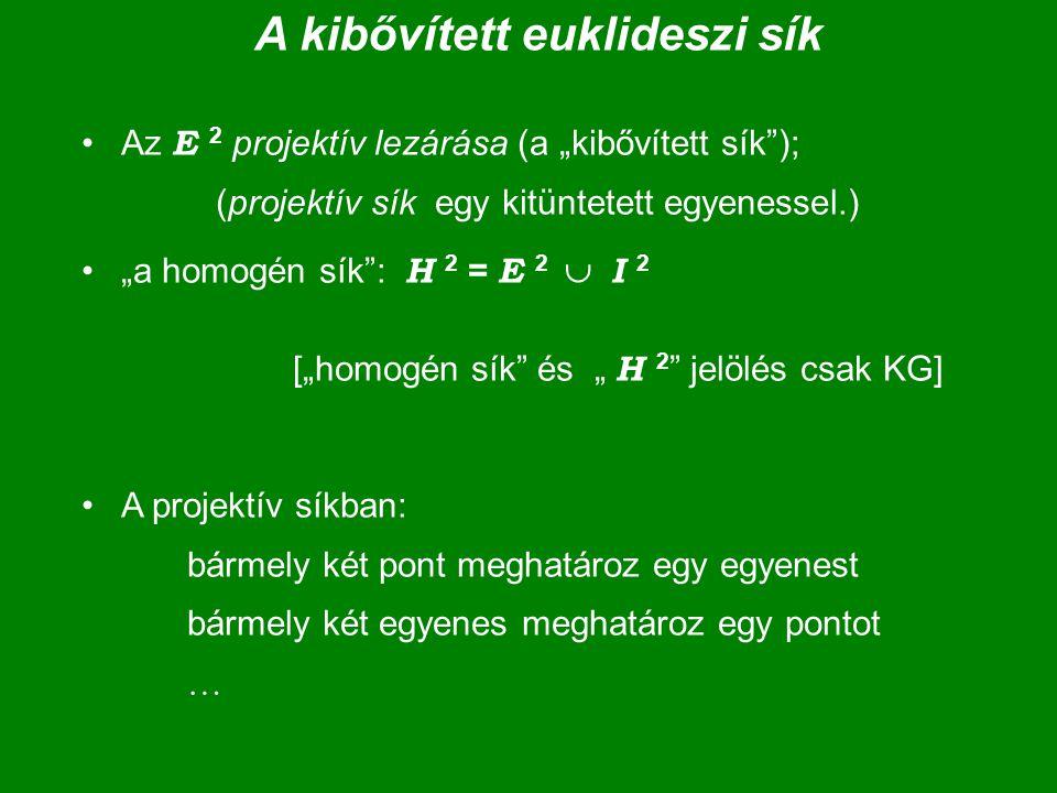 """A kibővített euklideszi sík Az E 2 projektív lezárása (a """"kibővített sík""""); (projektív sík egy kitüntetett egyenessel.) """"a homogén sík"""": H 2 = E 2  I"""