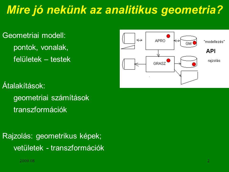 2009.082 Mire jó nekünk az analitikus geometria? Geometriai modell: pontok, vonalak, felületek – testek Átalakítások: geometriai számítások transzform