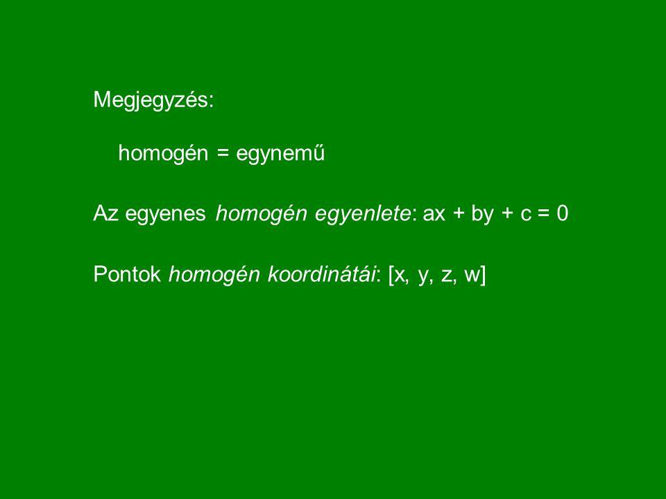 Megjegyzés: homogén = egynemű Az egyenes homogén egyenlete: ax + by + c = 0 Pontok homogén koordinátái: [x, y, z, w]