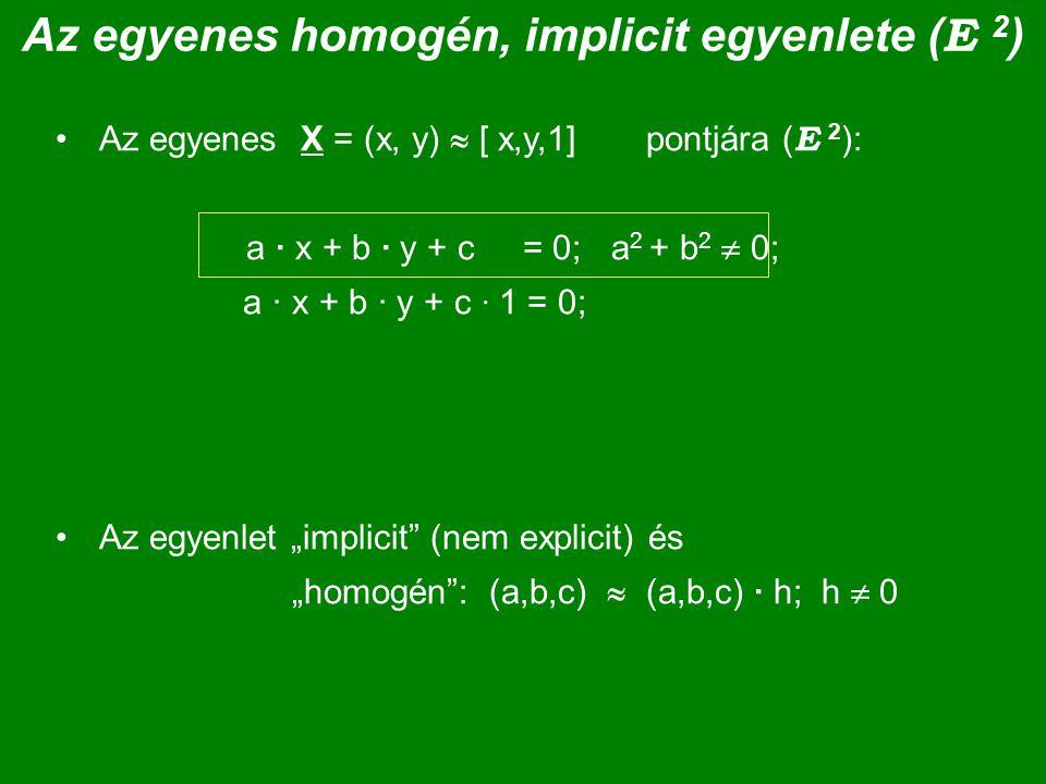 Az egyenes homogén, implicit egyenlete ( E 2 ) Az egyenes X = (x, y)  [ x,y,1] pontjára ( E 2 ): a · x + b · y + c = 0; a 2 + b 2  0; a · x + b · y