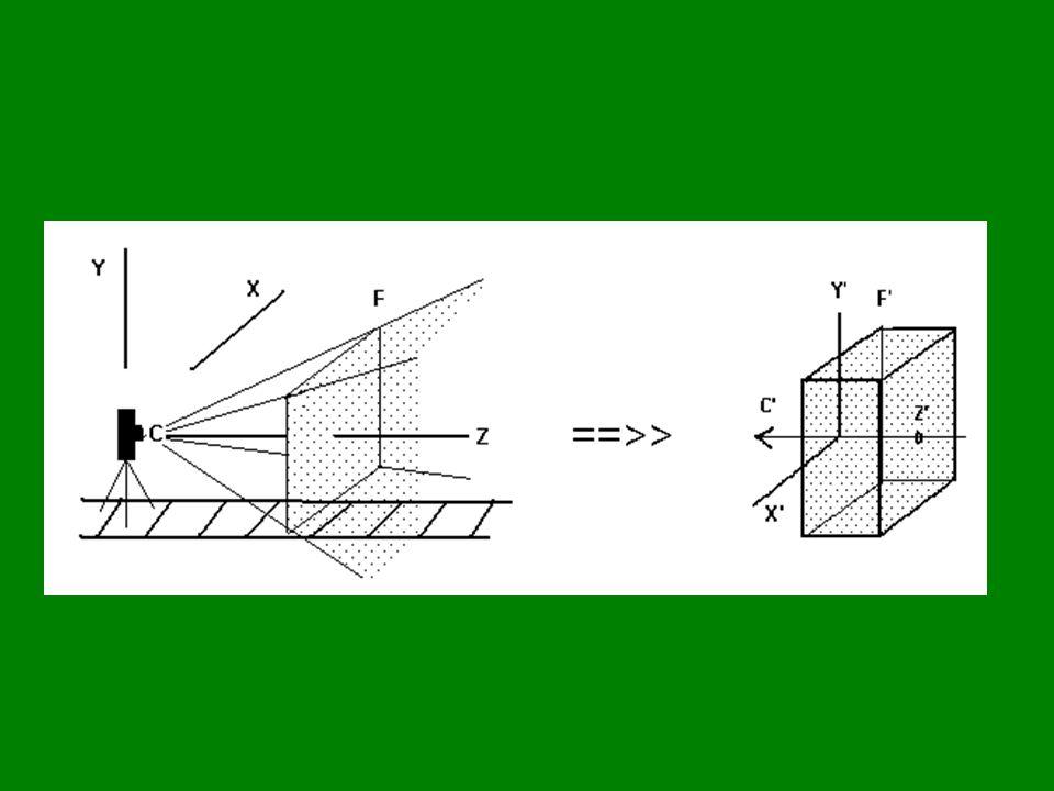 """""""Ideális pontok E 3 = { (x, y, z) }  { [x, y, z, 1] }; x, y, z  R I 3 = { [x, y, z, 0] }; x, y, z  R H 3 = E 3 U I 3 ; a """"kibővített tér , a """"homogén tér Az euklideszi tér kibővítése: minden egyenesnek van még egy pontja: amely egyenes állását jellemzi párhuzamosok ideális pontja megegyezik egy sík ideális pontjai: a sík ideális egyenesén a tér ideális pontjai: az ideális síkban"""