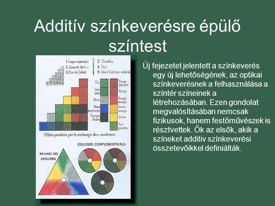 Additív színkeverésre épülő színtest Új fejezetet jelentett a színkeverés egy új lehetőségének, az optikai színkeverésnek a felhasználása a színtér színeinek a létrehozásában.