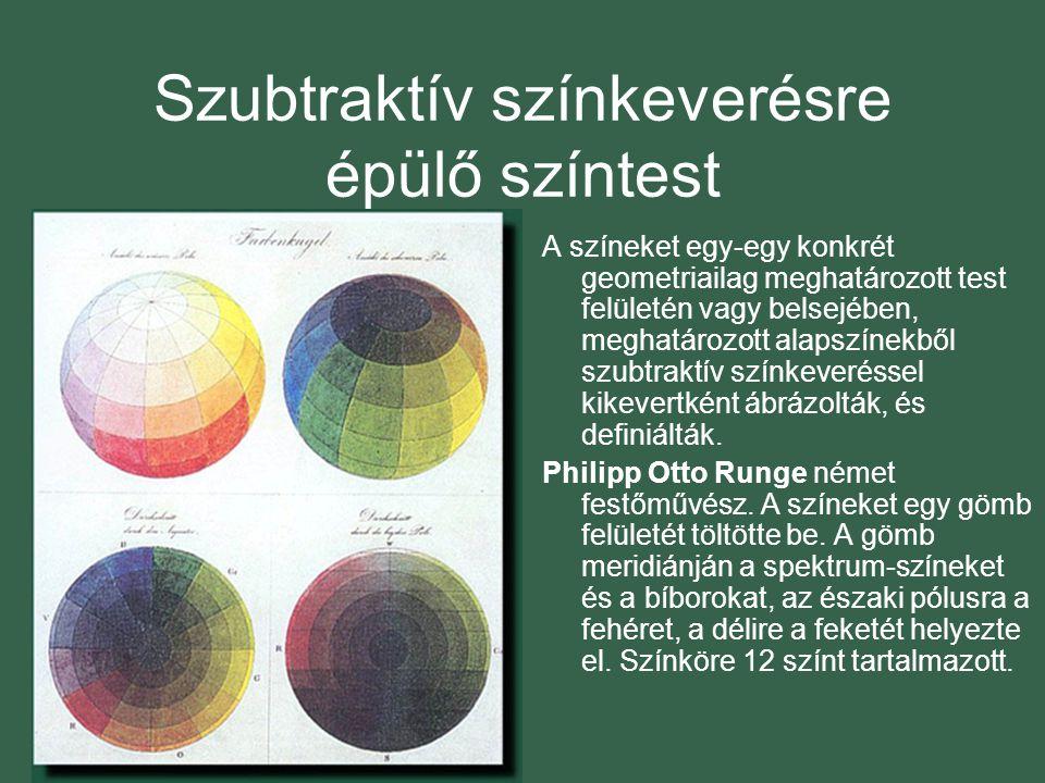 Szubtraktív színkeverésre épülő színtest A színeket egy-egy konkrét geometriailag meghatározott test felületén vagy belsejében, meghatározott alapszínekből szubtraktív színkeveréssel kikevertként ábrázolták, és definiálták.