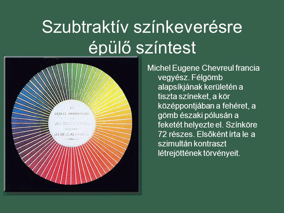 Szubtraktív színkeverésre épülő színtest Michel Eugene Chevreul francia vegyész.
