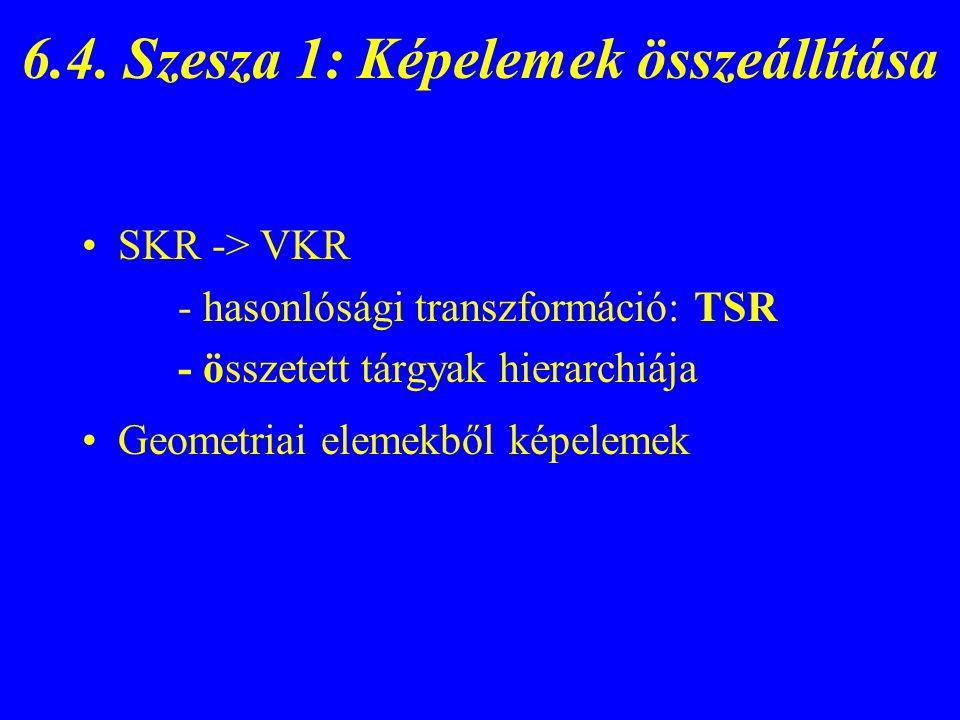 6.4. Szesza 1: Képelemek összeállítása SKR -> VKR - hasonlósági transzformáció: TSR - összetett tárgyak hierarchiája Geometriai elemekből képelemek